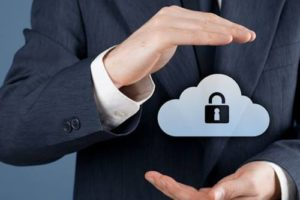 Cloud storage security concept. Security and safety of cloud computing data storage. Protecting gesture of safety data management specialist and cloud icon with padlock.